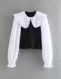 Fashion Black Stitched Doll Collar Contrast Top