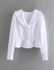 Fashion White Jewelry Button V-neck Solid Color Loose Shirt