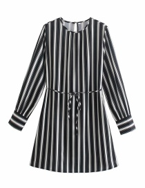 Fashion Black And White Color Matching Striped Round Neck Dress With Belt