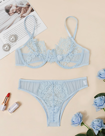 Fashion Blue Lace Webbing Stitching Beam Chest Steel Ring Underwear Set