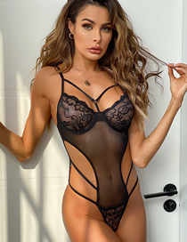 Fashion Black See-through Lace Hollow Underwear