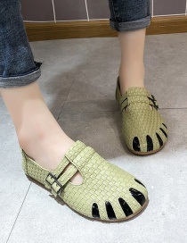 Fashion Green Baotou Hollow Woven Soft Sole Shoes