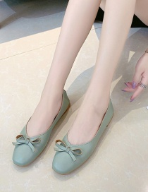 Fashion Green Shallow Square Toe Bow Single Shoes