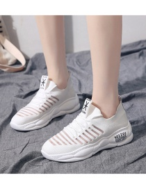 Fashion White Mesh Breathable Hollow Knit Shoes