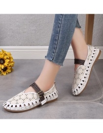Fashion White Flat Hollow And Breathable Shoes