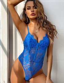 Fashion Sapphire Lace Flower Body Sculpting Bottoming Bodysuit
