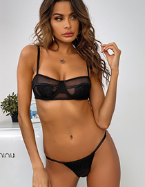 Fashion Black Three-point Lace Underwear Set