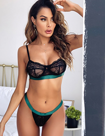 Fashion Black Fight Green Lace Sling Underwear Set