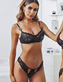 Fashion Black Ultra-thin Lace Butterfly Belt Underwire Underwear