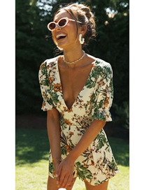Fashion Leaf Print Printed V-neck Jumpsuit