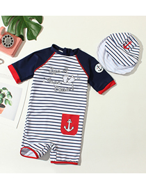Fashion Boys Siamese Blue And White Strips + Small Feet Childrens Feet Striped One-piece Swimsuit