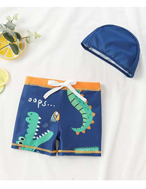 Fashion Digostar New Crocodile + Hat Childrens Cartoon Pattern Swimming Trunks Boxer Swimming Trunks + Swimming Cap Swimming Suit