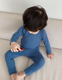 Fashion Dark Blue Cotton Tight-fitting Bottoming Childrens Warm Clothing