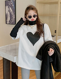 Fashion White Cotton Fake Two-piece High-neck Love Long-sleeved T-shirt