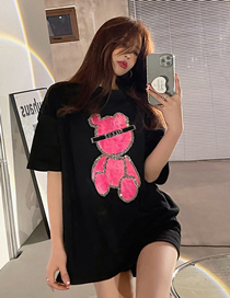 Fashion Black Pink Bear Short-sleeved Bear Crew Neck Top