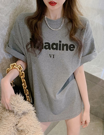 Fashion Gray Short-sleeved Letter Cotton Top