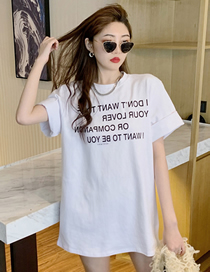 Fashion White Short Sleeve Letter Round Neck Mid-length Top