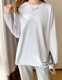 Fashion Solid Color Ripped Long-sleeved Mid-length Cotton Embroidered T-shirt