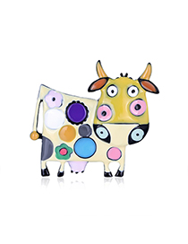 Fashion Color Alloy Drip Oil Cow Brooch