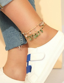 Fashion Suit Braided Rope Multi-layer Small Gravel 2-piece Anklet