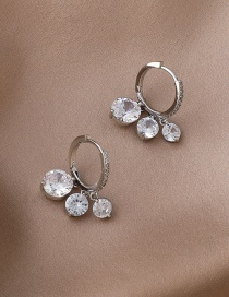 Fashion White Large And Small Zircon Drop Circle Earrings