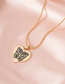 Fashion Gold Color Heart-shaped Butterfly Alloy Butterfly Round Bead Love Necklace
