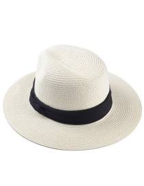 Fashion Milky White Woven Wide Brim Straw Hat