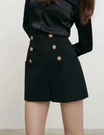 Fashion Black Buttoned Shorts