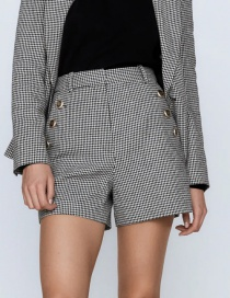 Fashion Lattice Houndstooth High Waist Shorts