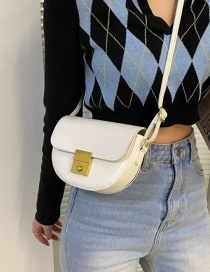 Fashion White Stone Pattern One-shoulder Diagonal Bag