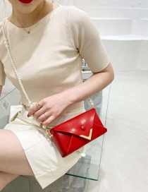 Fashion Red Tuba Textured Pearl Crossbody Bag