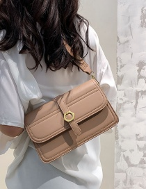 Fashion Khaki Crossbody Solid Color Textured Shoulder Bag