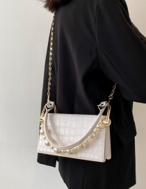 Fashion White Textured Stone Grain Pearl Single-shoulder Messenger Bag