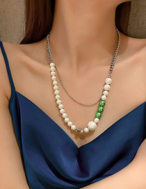 Fashion Silver Necklace Cross Double Pearl Necklace