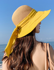 Fashion Yellow Sun Hat With Big Edge