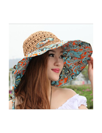 Fashion Totem Orange Hollow Estampadoed Bow Straw Hat