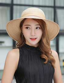 Fashion Khaki Large-edge Straw Sun Hat