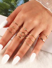 Fashion Golden 11-piece Geometric Metal Ring