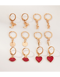 Fashion Red 6 Pairs Set Lips Love Earrings