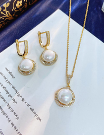 Fashion White Gold Round Earrings Necklace Set