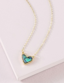 Fashion Blue Colorful Shell Peach Heart Necklace