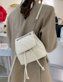 Fashion White Lingge Embroidery Thread Backpack