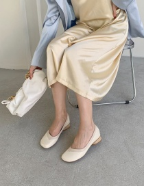 Fashion Apricot Low-heeled Square-toe Shallow-mouth Thick-heeled Shoes