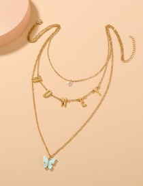 Fashion Blue Letter Multilayer Tassel Butterfly Necklace