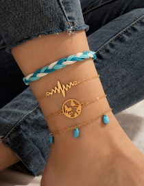 Fashion Blue Tassel Water Drop Turquoise Braided Rope Map 4-piece Anklet