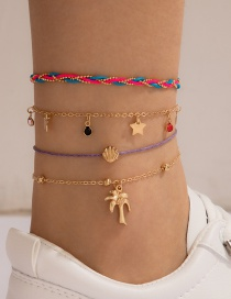Fashion Color Five-pointed Star Coconut Color 4-piece Anklet