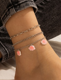Fashion Pink Cat Claw Multilayer 3 Piece Set Silver Anklet