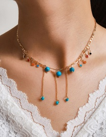 Fashion Blue Tassel Colored Beads Turquoise Alloy Necklace