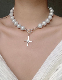 Fashion White K Alloy Pearl Star Necklace