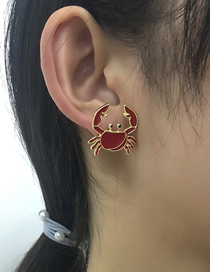 Fashion Color Alloy Dripping Glasses Crab Earrings Set